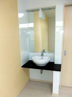 洗面台リフォーム,洗面ボウルをカウンターに設置例 washbasin