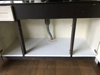 キッチン流し台の底板(収納床)補修 ポリベニヤ施工例 repairmaintenance blockkitchen